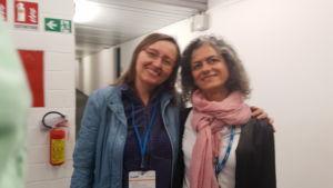 Silvia Gilioli con Monica Torreggiani, segretaria della Reggiana e padrona di casa nelle partite del Sassuolo al Mapei