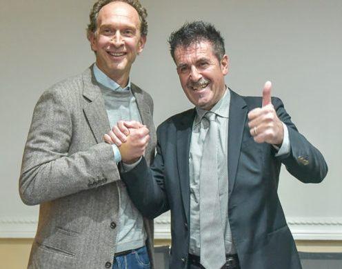 Lorenzo Bernardi, a sinistra, con il presidente di Perugia Gino Sirci