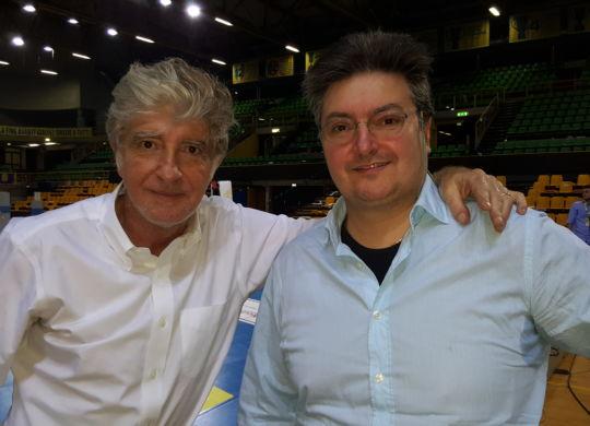Maurizio Colantoni (Raisport), a sinistra, con Vanni Zagnoli