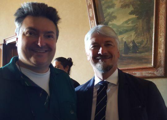 Vanni con Pietro Strada, trequartista della seconda promozione della Reggiana in A e poi del Parma