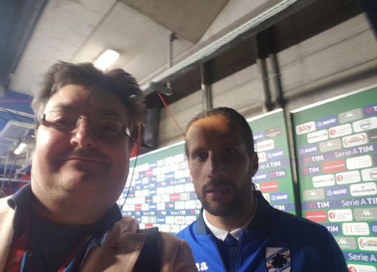 Con Silvestre, difensore della Sampdoria