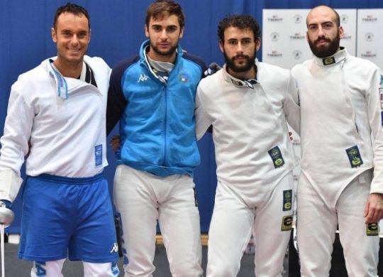 La squadra della spada maschile, Paolo Pizzo, Enrico Garozzo, Marco Fichera e Andrea Santarelli (oasport.it)