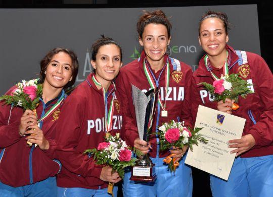La squadra vincente del fioretto femminile (federscherma.it/Augusto Bizzi)